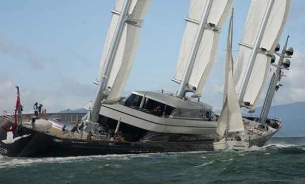 Maltese Falcon hit by sailboat (C) Peter Lyon/Lyon Imaging for YachtPals.com